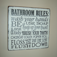 Bathroom typography sign plaques distressed shabby chic