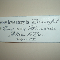 Personalised love story plaque sign weddings engagements anniversary