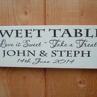 shabby chic vintage wedding personaliesd sweet table candy bar plaque sign
