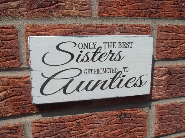 shabby chic vintage sister auntie birthday gift plaque sign