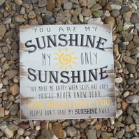 shabby chic vintage you are my sunshine sign plaque nursery