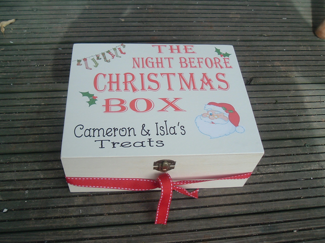 The night before christmas treat box personalised wooden box rudolph santa