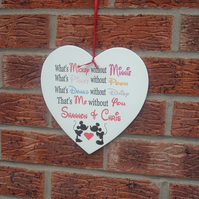whats minnie without mickey pooh piglet disney personalised  sign heart plaque