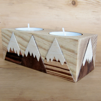 Wooden candle holder for 2 tea lights. Snow capped mountains design.