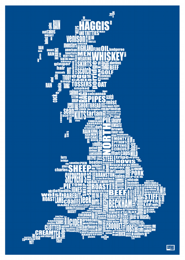 Stereotypical typographic map of Britain