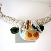 Scottish Highland Coo - quirky wall hanging. Vegetarian blue trophy.