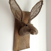 Vegetarian hessian hare head trophy. OOAK fibre sculpture. Burlap bunny. Rabbit