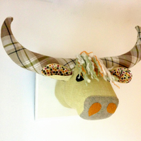 Quirky vegetarian Highland coo trophy - Scottish textile taxidermy!