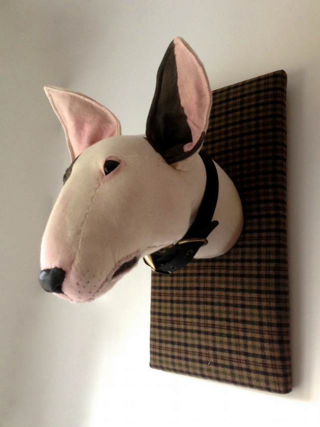 Fabric Bull Terrier Trophy Textile Taxidermy D Folksy
