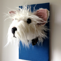 West Highland terrier faux taxidermy sculpture. Westie dog wall art. White blue.
