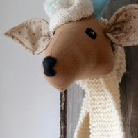 Quirky vegetarian animal deer head trophy. Brown and turquoise.