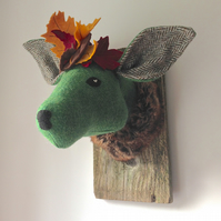 Autumn leaf deer textile taxidermy trophy. Harris tweed. Fashion fun fauxidermy.