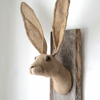 Hessian hare head trophy. Vegetarian wall sculpture. OOAK jute faux taxidermy.