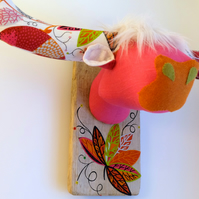 Hot pink funky Highland coo. Quirky textile faux taxidermy. Animal trophy.
