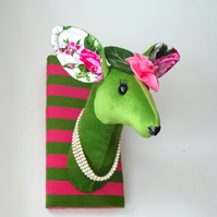 Quirky vegetarian animal deer head trophy. Green and pink doe. Roses, stripes.