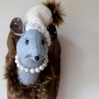 Skye blue Harris tweed Mousette. Handmade mouse sculpture. Fauxidermy trophy.