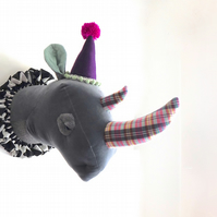 Grumpy circus clown faux taxidermy rhino. Quirky fun handmade animal art trophy.