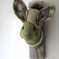 Chilly bunny handmade wall sculpture. Autumn faux taxidermy, green with pearls.