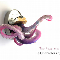 Tinned Octopus. Fun textile food art, handmade sea creature sculpture