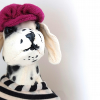 Textile sculpture dog bust. Stylish Dalmatian on oak. Spots, stripes and cerise