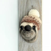 Cute cotton sloth sculpture Mini textile animal fauxidermy. Free hand fabric art