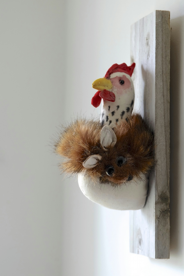 Hen with fox fur stole textile sculpture. Whimsical handmade faux taxidermy art.