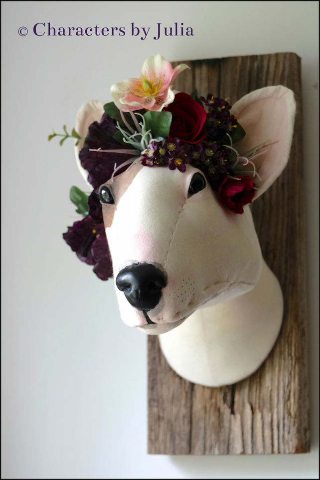 English bull terrier textile art sculpture. Handmade 3d dog pet portrait Flowers