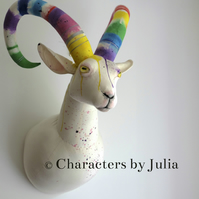Large goat cotton sculpture. Rainbow dripping horns. Textile Fauxidermy animal