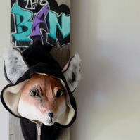 Hoodie fox cotton sculpture. Graffiti 'Keep The Ban', political fauxidermy