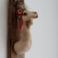 Fabulous flower crown camel, faux taxidermy sculpture. Textile animal head art