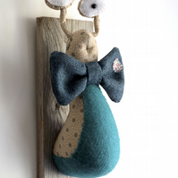 Quirky slug trophy, gardeners revenge. Textile tweed snail. Whimsical trophy