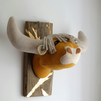 Gold Harris tweed highland coo textile art wall sculpture. Scottish cow head