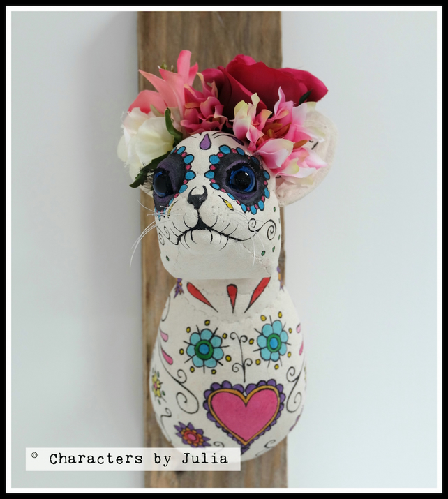 Day of the Dead, Dia de los Muertos textile cat sculpture. Faux taxidermy art.