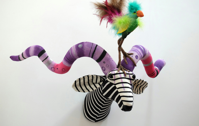 Large fantasy antelope fauxidermy trophy Upcycled stripy textile taxidermy. Bird
