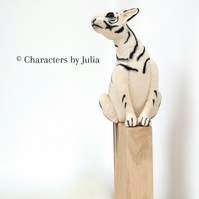 Monochrome tiger sculpture on waxed oak Hand stitched painted cotton big cat art