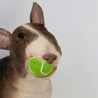 English bull terrier mini with tennis ball, cotton wall sculpture. OOAK art dog