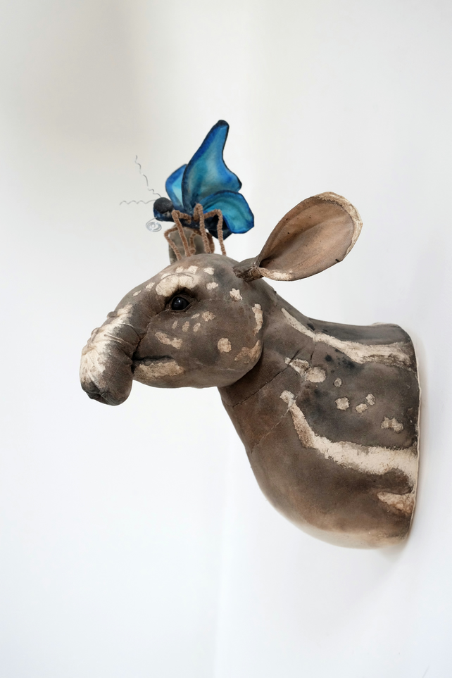 Tapir wall sculpture. Fabric taxidermy vegetarian animal art with butterfly