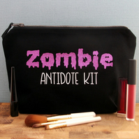 Zombie  Make Up Bag, Funny Make Up Bag, Toiletry Bag, Make-up Bag, Makeup Bag