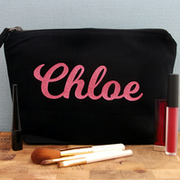 Personalised Make Up Bag, Glitter Make Up Bag, Personalised Cosmetic Bag