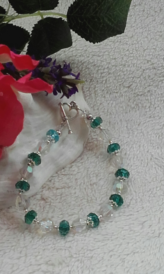 Green and Crystal Bracelet