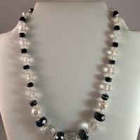 Vintage Black & Crystal Glass Bead Necklace