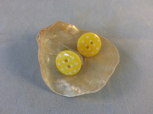 Spotted Yellow Button Stud Earrings