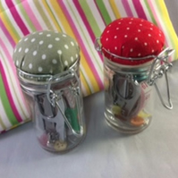 Sewing Emergency Jar with Green Spotty Pincushion