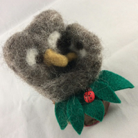 Needle Felted Mother and Baby Owl