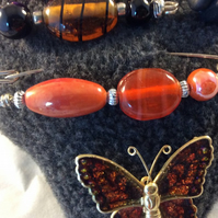 Glass Orange Scarf  Brooch