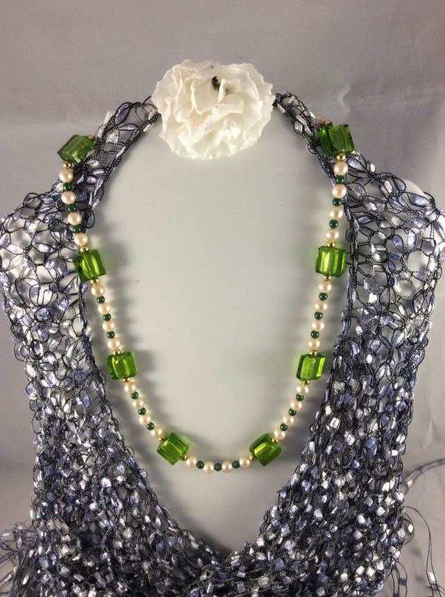 Lime Green and Pearl Necklace