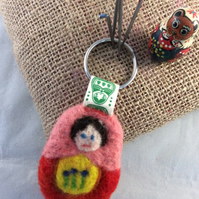 Hand Felted Babushka Key Ring - Bag Charm