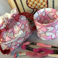 Hearts Craft Bag with matching Thread Catcher