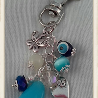Silver and Blue Bag Charm