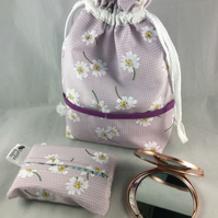 Lavender Make-up Bag with Pocket Mirror and Matching Tissue Holder